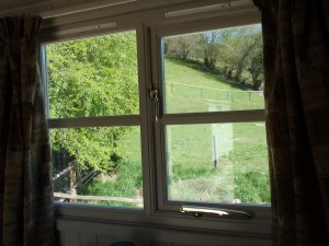 bedroom view from a shepherd hut